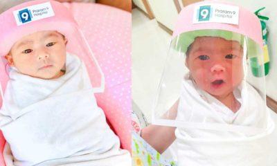 Tayland'da yeni doğan bebeklere koronavirüse karşı koruyucu yüz kalkanı takıldı