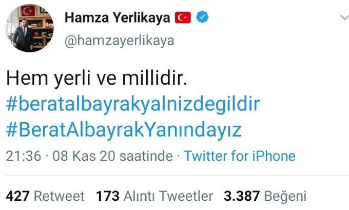 Berat Albayrak'ın istifasının ardından destek paylaşımını sildi