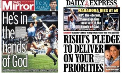İngiliz gazetelerinden Maradona için 'çirkin' manşetler
