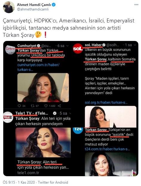 AKP'li Ahmet Hamdi Çamlı, sanatçı Türkan Şoray'ı hedef aldı
