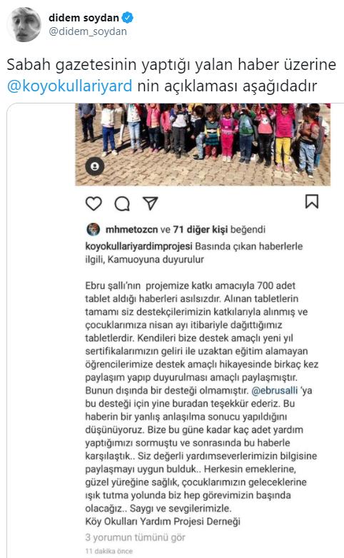 Didem Soydan'dan Sabah gazetesinin haberine tepki: Yalan haber yapmak sizlerin DNA'sına işlemiş