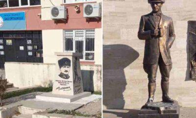 Antalya'da Atatürk'ün büstü ve heykeline saldırı