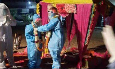 Düğünden birkaç saat önce pozitif çıktınca gelinlik yerine koruyucu ekipman giydi