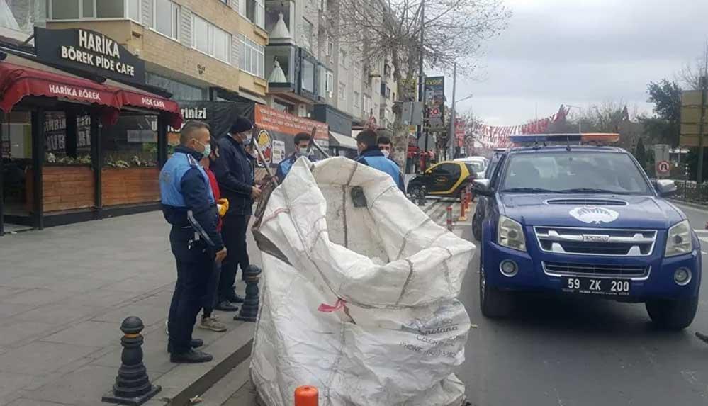 Tekirdağ'da sokağa çıkma kısıtlamasını ihlal eden atık toplayıcılarına para cezası