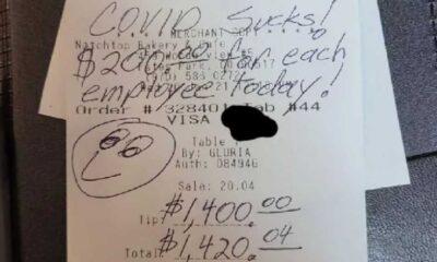 'Covid berbat' notuyla 1400 dolar bahşiş bıraktı