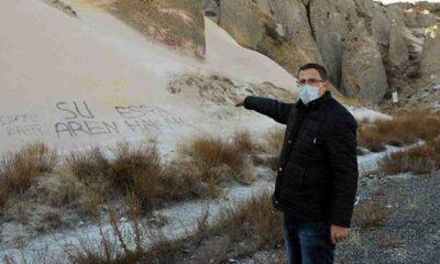 Peribacalarına sprey boyayla yazı yazıldı