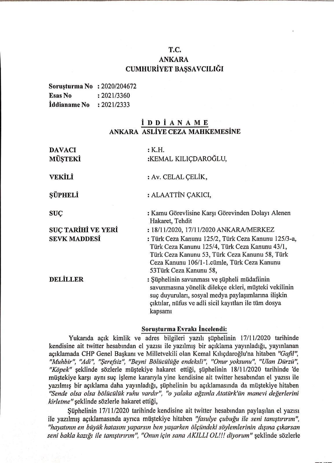 Kılıçdaroğlu'nu tehdit eden Alaattin Çakıcı hakkında iddianame hazırlandı