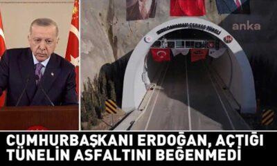 Cumhurbaşkanı Erdoğan, açtığı tünelin asfaltını beğenmedi