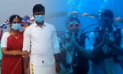 Okyanuslardaki kirliliğe dikkat çekmek için su altında evlendi