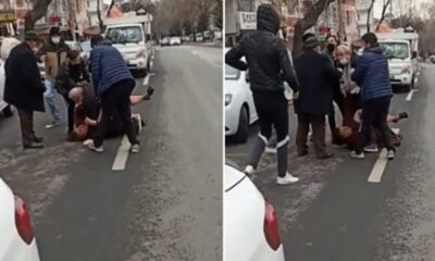 Ankara'da bir erkek, eşini sokak ortasında darp etti