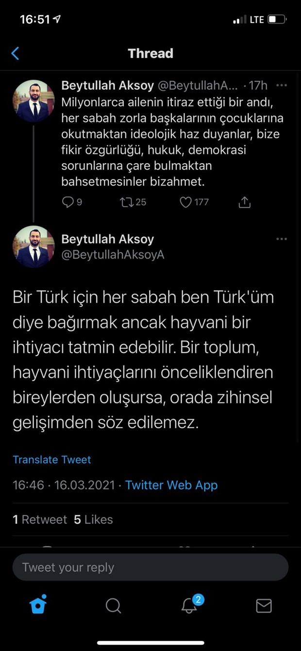 'Andımız' için 'hayvani ihtiyaç' diyen Deva Partili Aksoy istifa etti