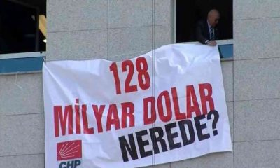 '128 milyar dolar nerede?' pankartı Meclis'e asıldı