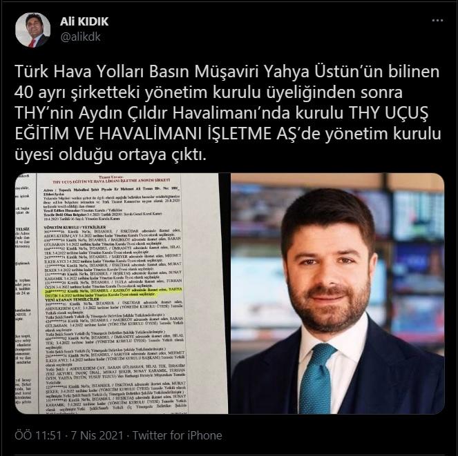 Bilal Erdoğan'ın lise arkadaşı THY Basın Müşaviri Yahya Üstün, 41'inci şirkete de yönetim kurulu üyesi oldu