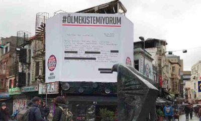 """Beşiktaş Belediye Başkanı'ndan destek! """"Ölmek İstemiyorum"""" dilekçesi Beşiktaş Çarşı'ya asıldı"""