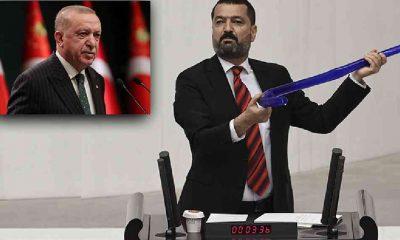 """HDP'li vekil meclise hortumla çıktı: """"Yürütmenin başı Sayın Erdoğan bu hortumlama işinde uzmanlaştı"""""""