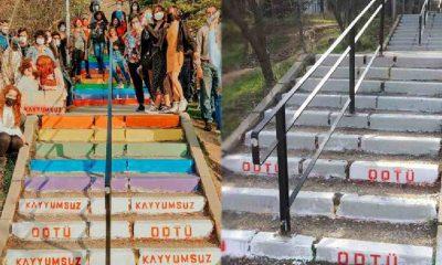 ODTÜ'lülerin 3. kez renklendirdiği merdivenler, okul yönetimi tarafından bir kez daha griye boyandı