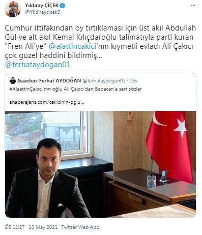 Çakıcı'nın oğlu Ali Babacan'ı hedef aldı