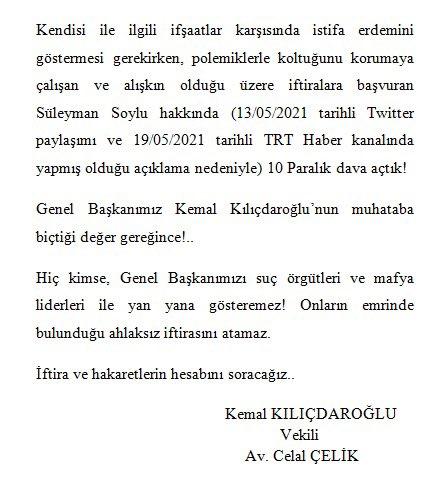 """CHP'den Süleyman Soylu hakkında """"10 paralık"""" dava"""