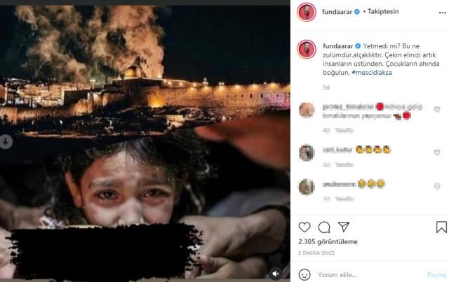 Ünlülerden Filistin'e destek paylaşımları