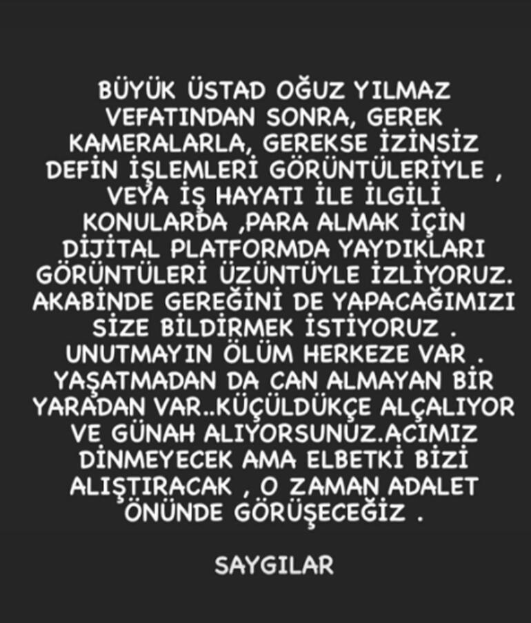 Türkücü Oğuz Yılmaz'ın cenazesinde ailesini isyan ettiren olay!