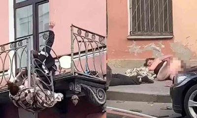 Kavga eden çift 8 metre yükseklikteki balkondan düştü