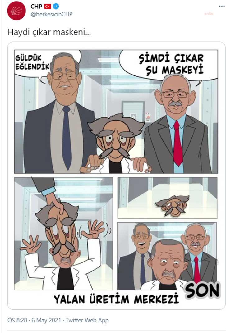 """CHP'den AKP'ye karikatürlü yanıt: """"Şimdi çıkar şu maskeyi"""""""
