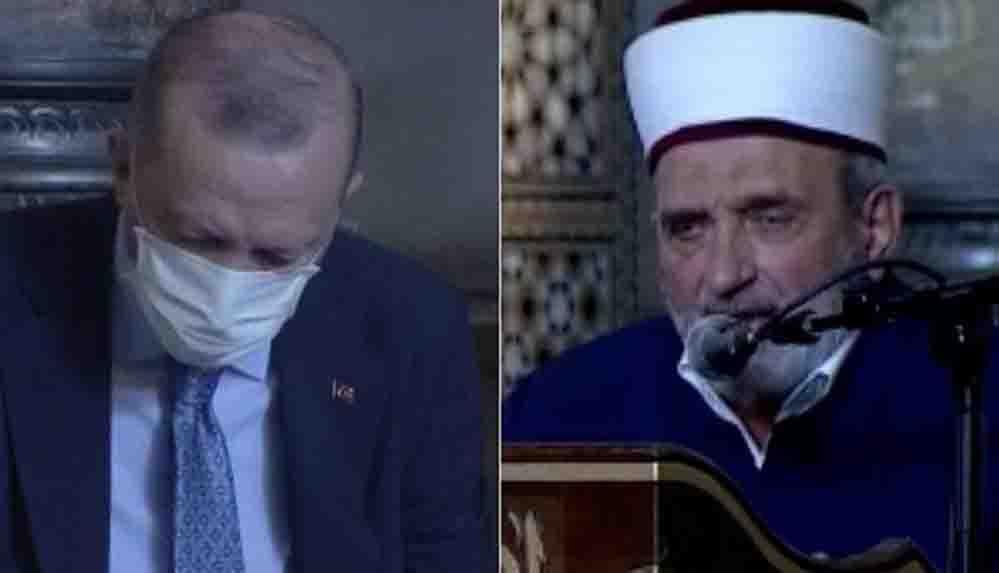Erdoğan'ın da Ayasofya'da bulunduğu sırada imam Atatürk'e lanet okudu