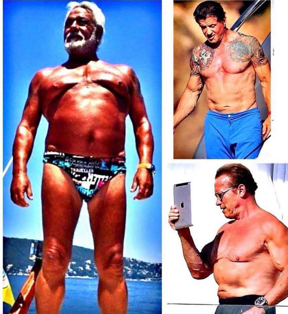 """Fedon, 2 eski Hollywood yıldızıyla kendi vücudunu paylaştı: """"Şimdiki gençlere taş çıkartırız"""""""