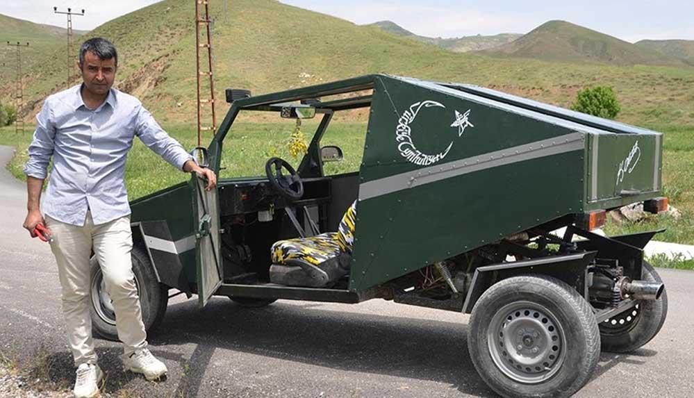 Hurda malzemeden benzinli araç yaptı