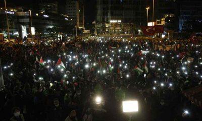 İstanbul'da gece yarısı İsrail'e protesto