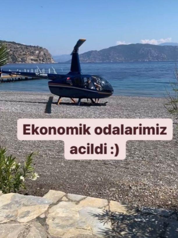 Marmaris'te halk plajına helikopterle iniş yaptılar