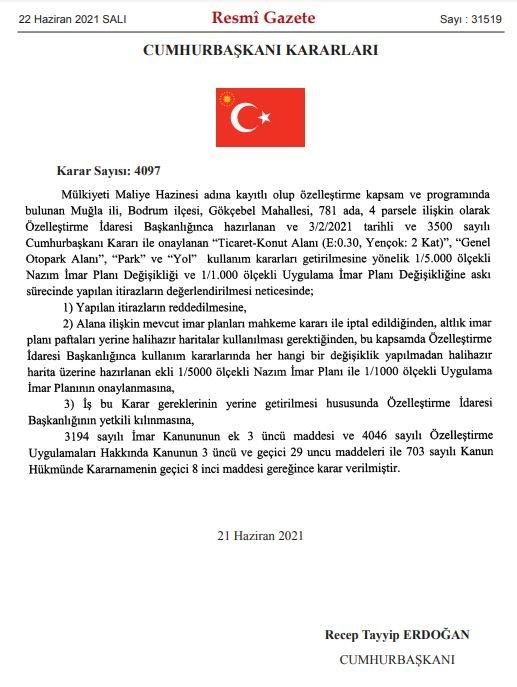 Cumhurbaşkanı imzasıyla Bodrum'da bir yer daha imara açıldı