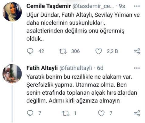 Uğur Dündar ve Fatih Altaylı'dan AKP'li Cemile Taşdemir'e sert tepki