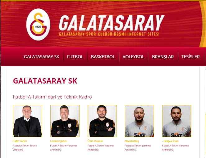 Galatasaray'ın resmi sitesinde Fatih Terim detayı
