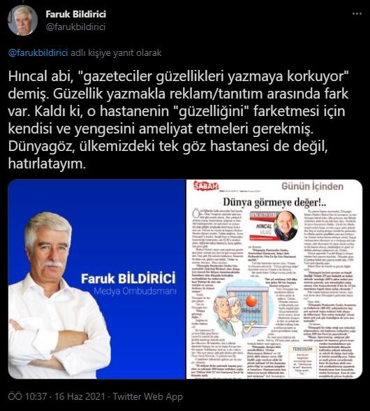 """Medya Ombudsmanı Faruk Bildirici'den Hıncal Uluç'a reklam tepkisi: '""""Ameliyat için ücret ödediniz mi? Fatura?"""""""