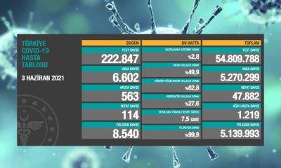 Türkiye'nin 3 Haziran koronavirüs tablosu açıklandı