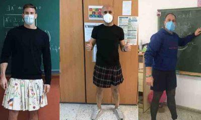 Etek giyen erkek öğretmenlerden 'Kıyafetlerin Cinsiyeti Yoktur' sloganlı kampanyaya destek