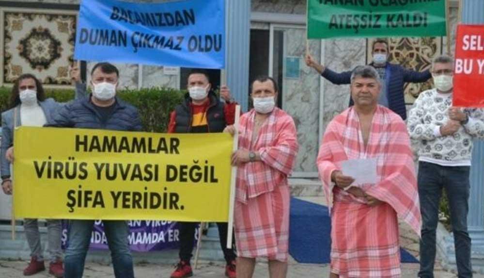 """Hamamcılar peştamal ve sabunlarıyla meydana çıkıp isyan etti: """"Hamamlar virüs yuvası değil şifa yeridir"""""""