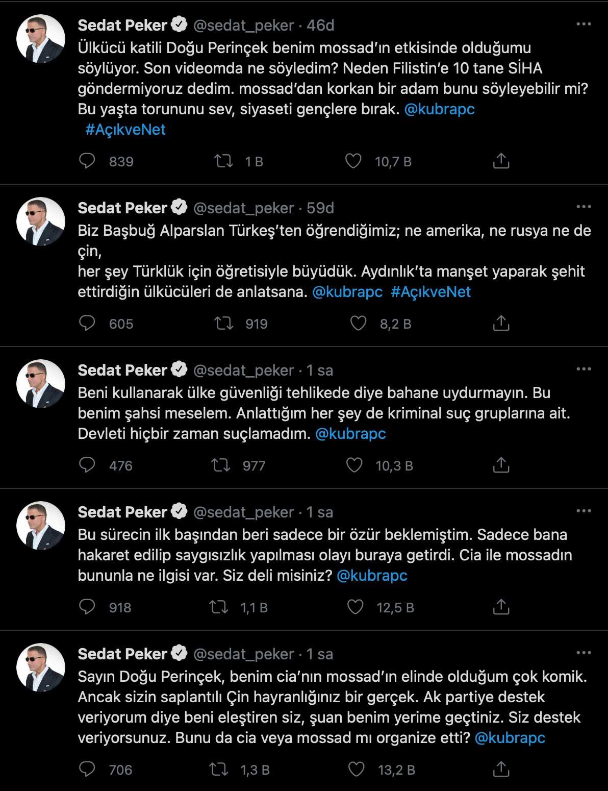 Sedat Peker: Sadece özür beklemiştim; bana hakaret edilip saygısızlık yapılması olayı buraya getirdi