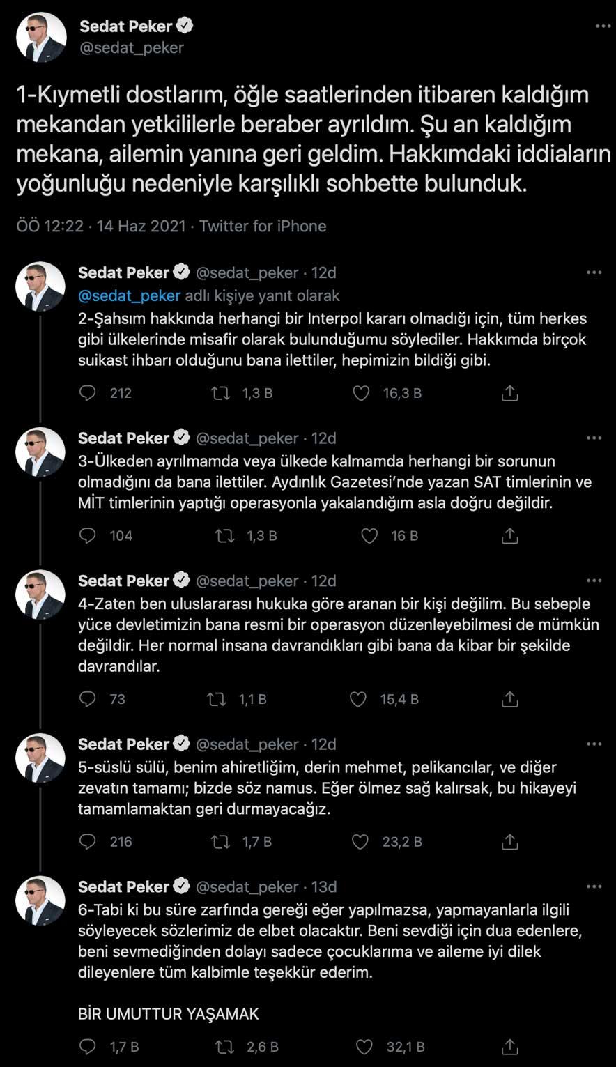 Can güvenliğinden endişe edilen Sedat Peker'den açıklama geldi