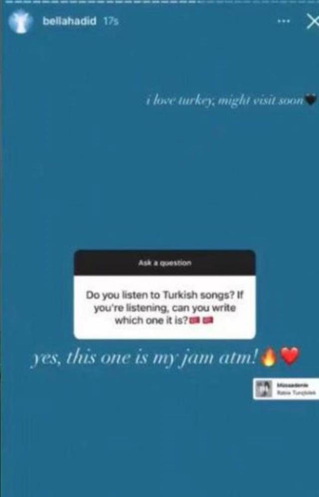 Ünlü model Bella Hadid dinlediği Türkçe şarkıyı paylaştı