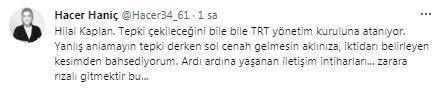 AKP'li yazar Haniç'ten Erdoğan'a: Hilal Kaplan'ı önemsiyorsa nüfusuna alsın