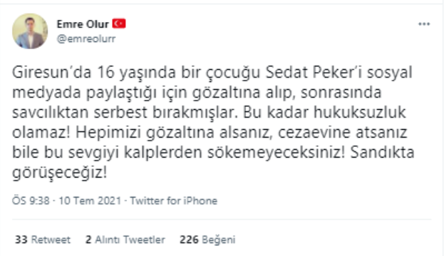 'Sedat Peker' paylaşımı yapan 16 yaşındaki genç gözaltına alındı