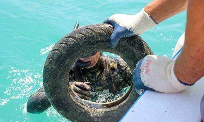 Bodrum'da deniz dibi temizliği: 344 kilogram atık çıkarıldı