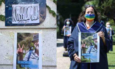 Boğaziçili akademisyenler, Can Candan'ın fotoğrafını 'kayyımlık' binasına yapıştırdı