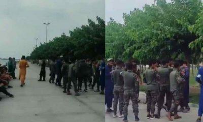 Zeytinburnu Sahili'nde askeri kıyafeti giyen Afganlar görüntülendi