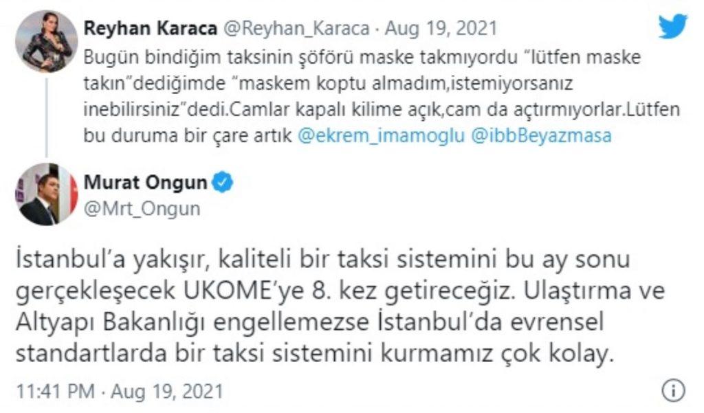 İBB Sözcüsü Ongun'dan şarkıcı Reyhan Karaca'nın taksi tepkisine yanıt