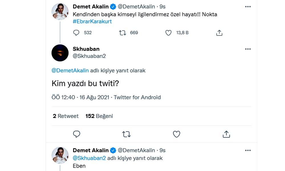 Demet Akalın'dan Ebrar Karakurt paylaşımına yapılan yoruma olay yanıt: Eben...
