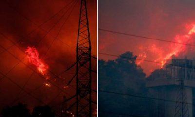 Alevlere teslim olan Kemerköy Termik Santrali'nden patlama sesleri geliyor