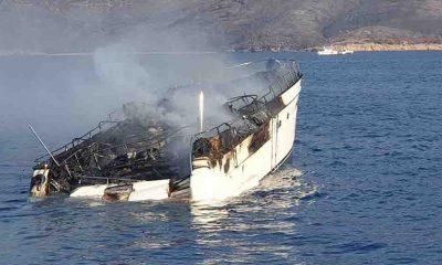 Bodrum'da yangın çıkan teknedeki 5 kişi kurtarıldı